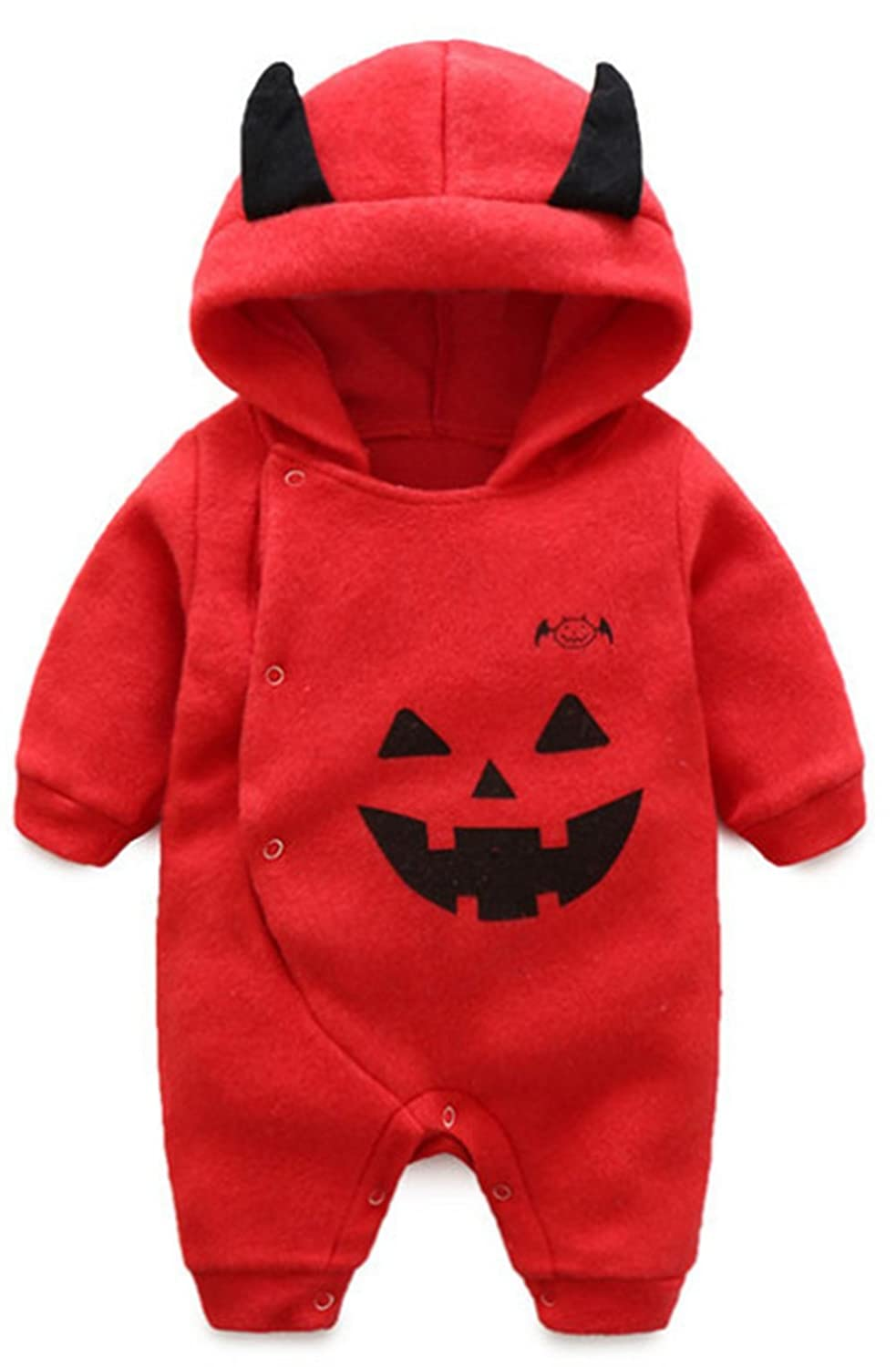 Toddler Baby Boys Girls Halloween Costume Pumpkin Hooded Romper Fancy Outfits BANGELY Z930