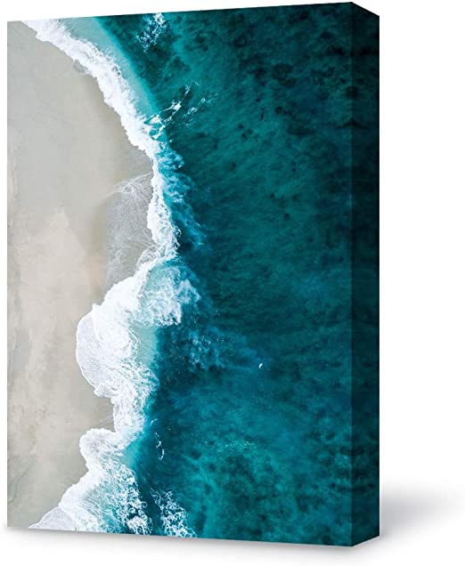 Amazon Com Signford Canvas Wall Art Modern Blue Ocean And White