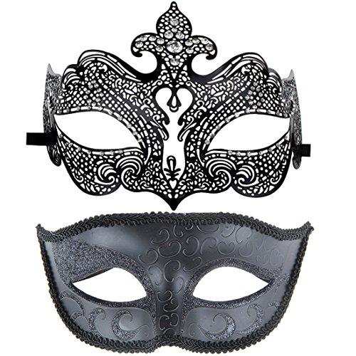[One Pair Couple's Gorgeous Masquerade Dance Gala Venetian Party Mask Lover's Set Black] (Bulk Venetian Masks)