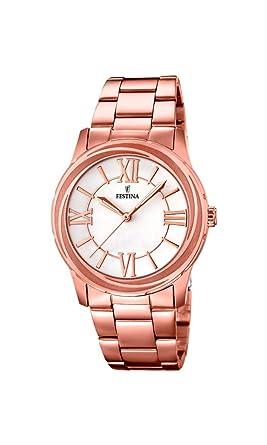 Festina F16725/1 - Reloj de cuarzo para mujer, con correa de acero inoxidable, color dorado: Amazon.es: Relojes