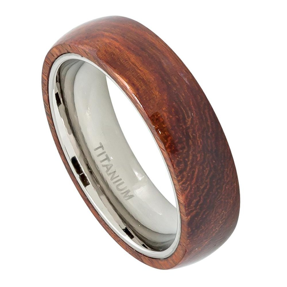 6MM Titanium Wedding Band Ring with Hawaiian Koa Wood Inlay