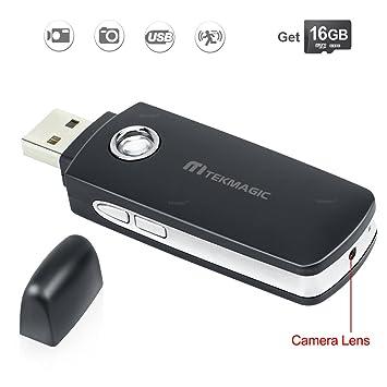 TEKMAGIC 16GB Mini Cámara Espía Unidad Flash USB Detección de Movimiento Videocámara DV Video Vigilancia Apoyo