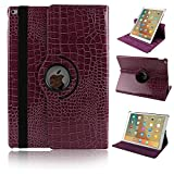 Case for iPad Pro 9.7,YiMiky 360 Degree Rotating Multi-Angle Smart Folio Stand PU Leather Lightweight Protective Case for iPad Pro 9.7(Purple)