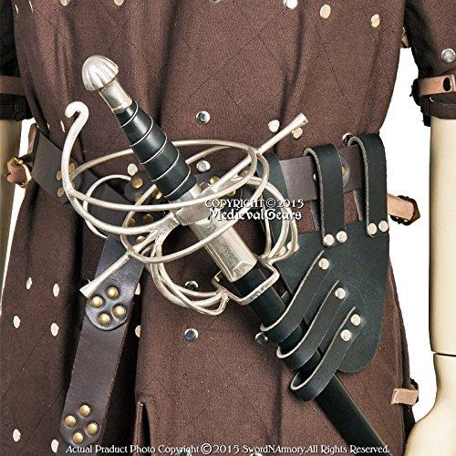Medieval Gears Brand Medieval Renaissance Black Genuine Leather Rapier Sword Belt Frog Holder LARP