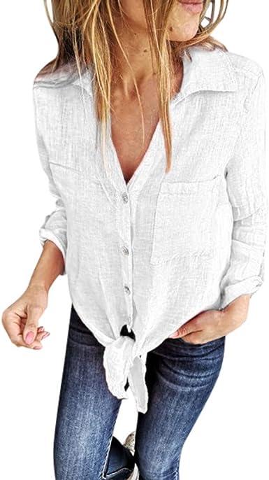 COZOCO Nueva Camisa De Color Liso para Mujer Camisa De Mujer ...