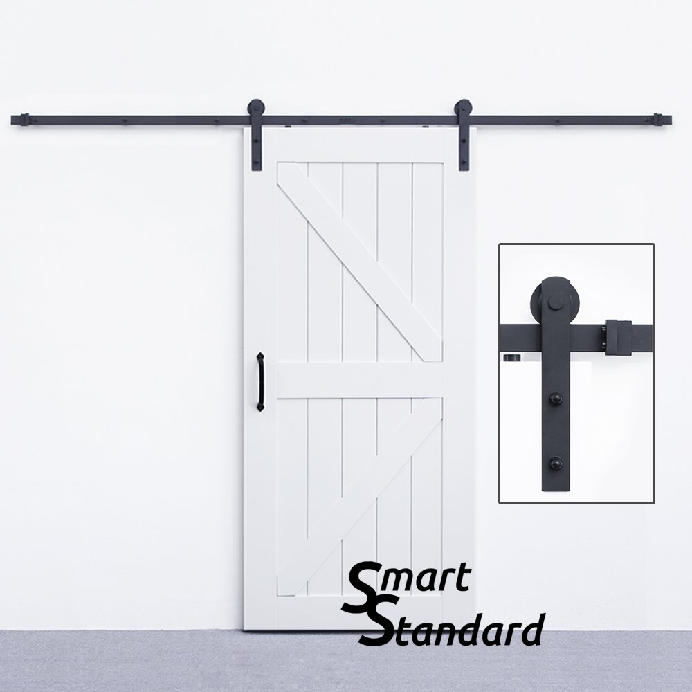 10ft Heavy Duty Sliding Barn Door Hardware Kit - for Wide Opening Or Two Openings -Smoothly and Quietly -Simple and Easy to Install -Includes Step-by-Step Installation Instruction - Fit 60'' Wide Door