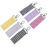 Lipstick Holder Keychain,6Pcs Lip Balm Chapstick Pouch Strap Key Ring Bag,Wave Pattern,6 Colors (Navy Blue)