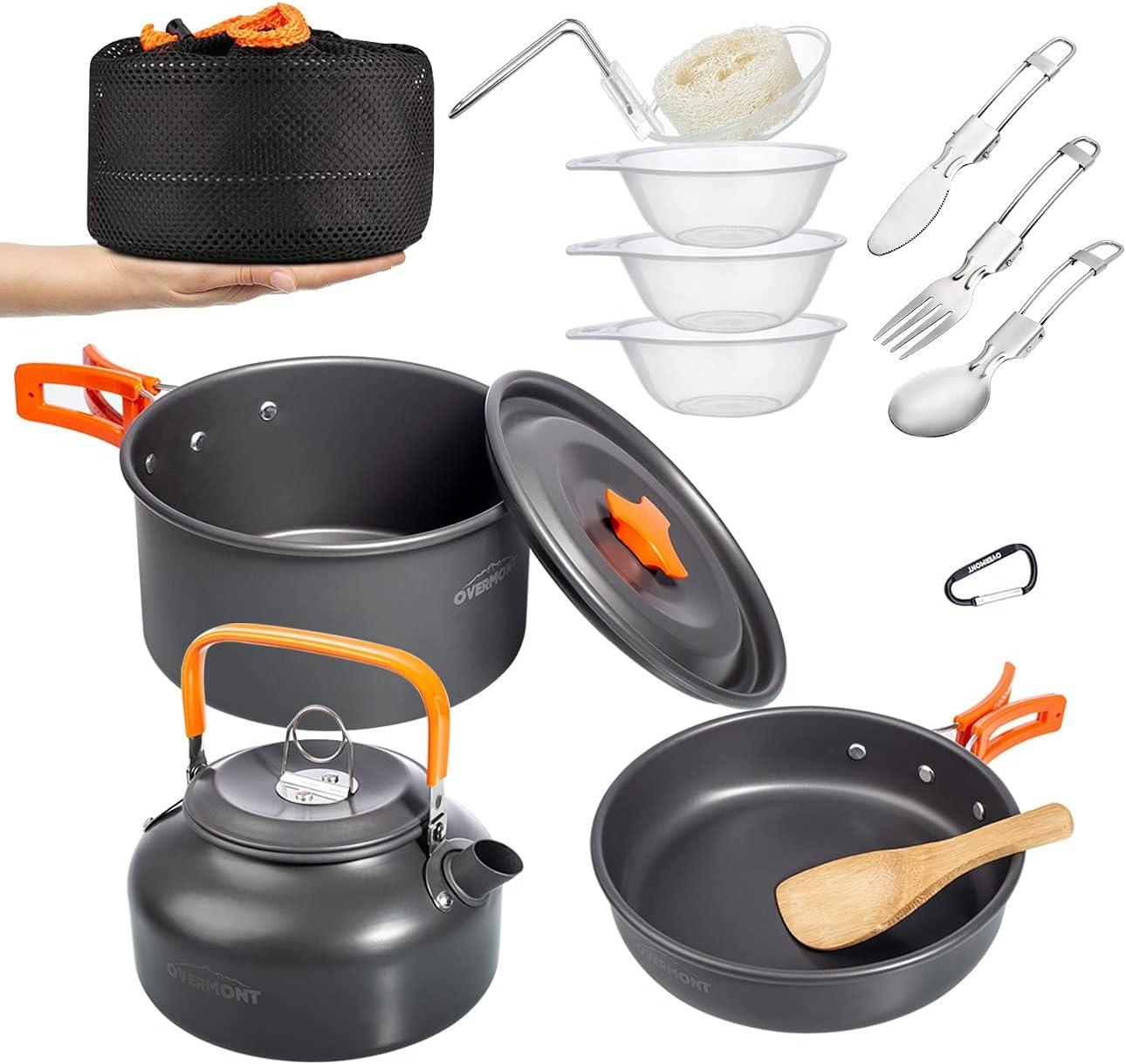 Overmont 14Pcs Kit de Utensilios Cocina Camping Olla Sartén Tetera Vajilla para Acampada Senderismo Excursión al Aire Llibre de Aluminio