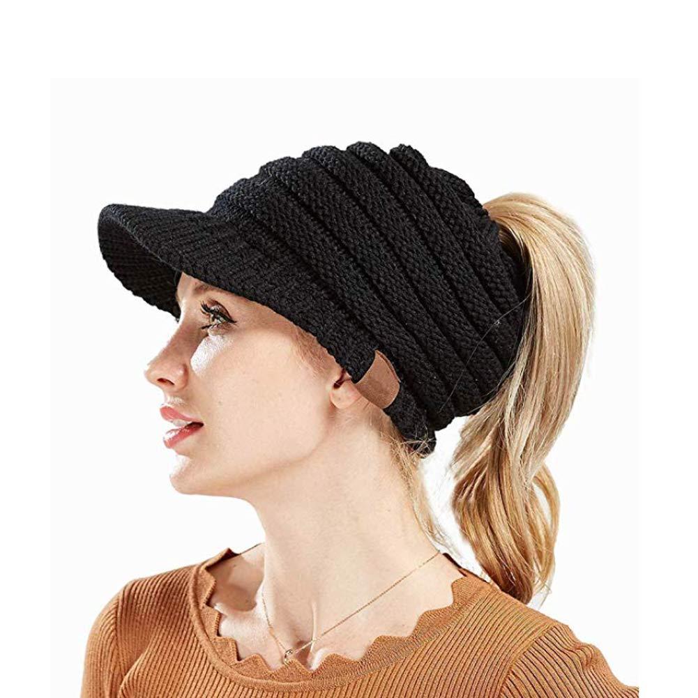 32f015de COCOHAT Knit High Ponytail Hat,Beanie Winter Hats for Women,High Bun Messy  Visor Beanie Cap