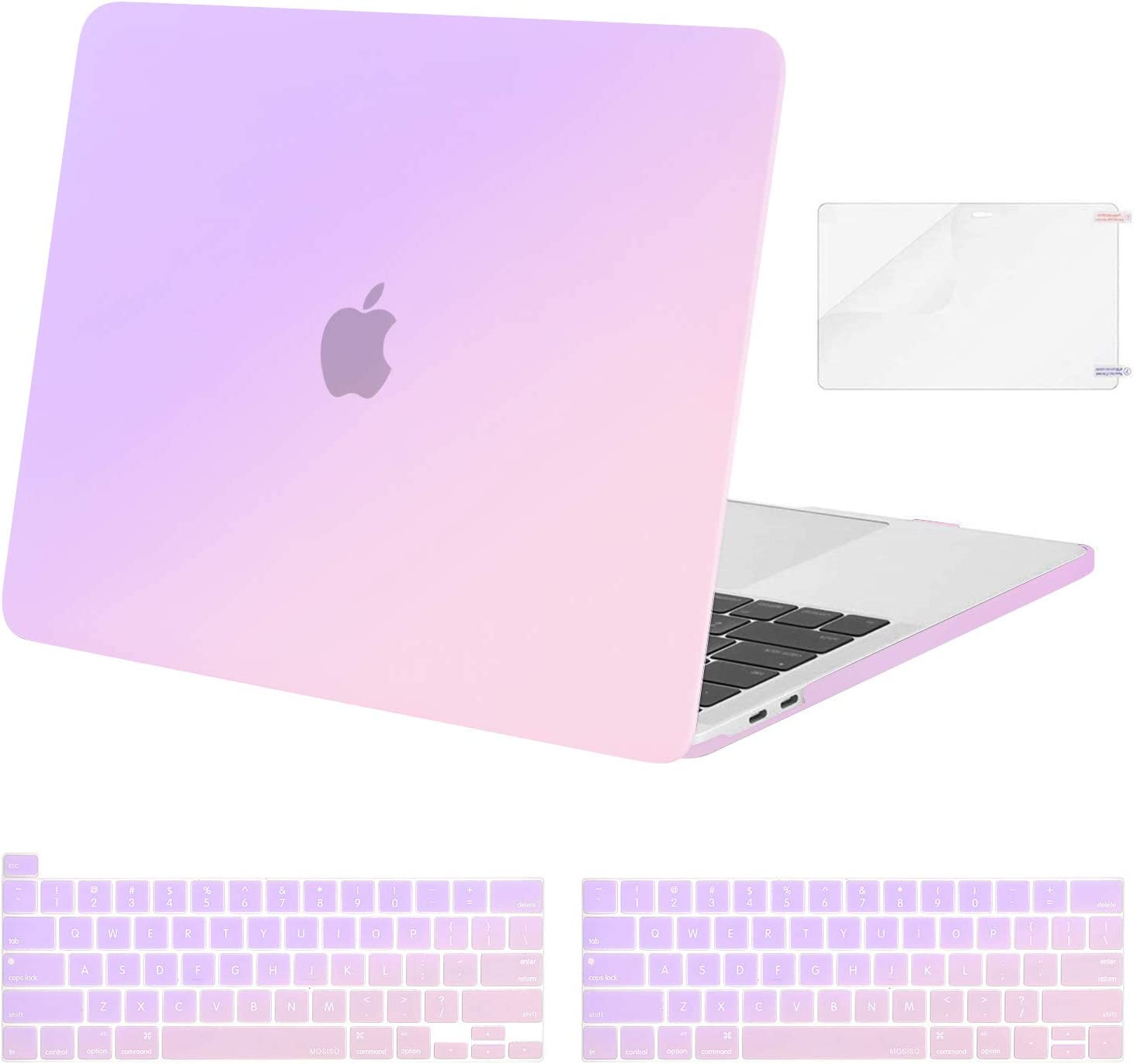 MOSISO Compatible with MacBook Pro 13 inch Case 2020 2019 2018 2017 2016 Release A2251 A2289 A2159 A1989 A1706 A1708, Plastic Pattern Hard Shell Case&Keyboard Cover&Screen Protector, Gradient Purple