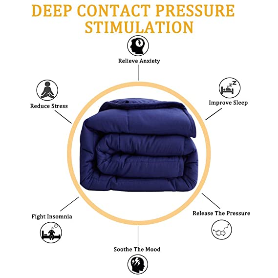 SONORO KATE Weighted Blanket(20 lbs, 60x80for Adults, Queen Size) | 2.0 Heavy Blanket | 100% Cotton Material with Glass Beads Navy Blue