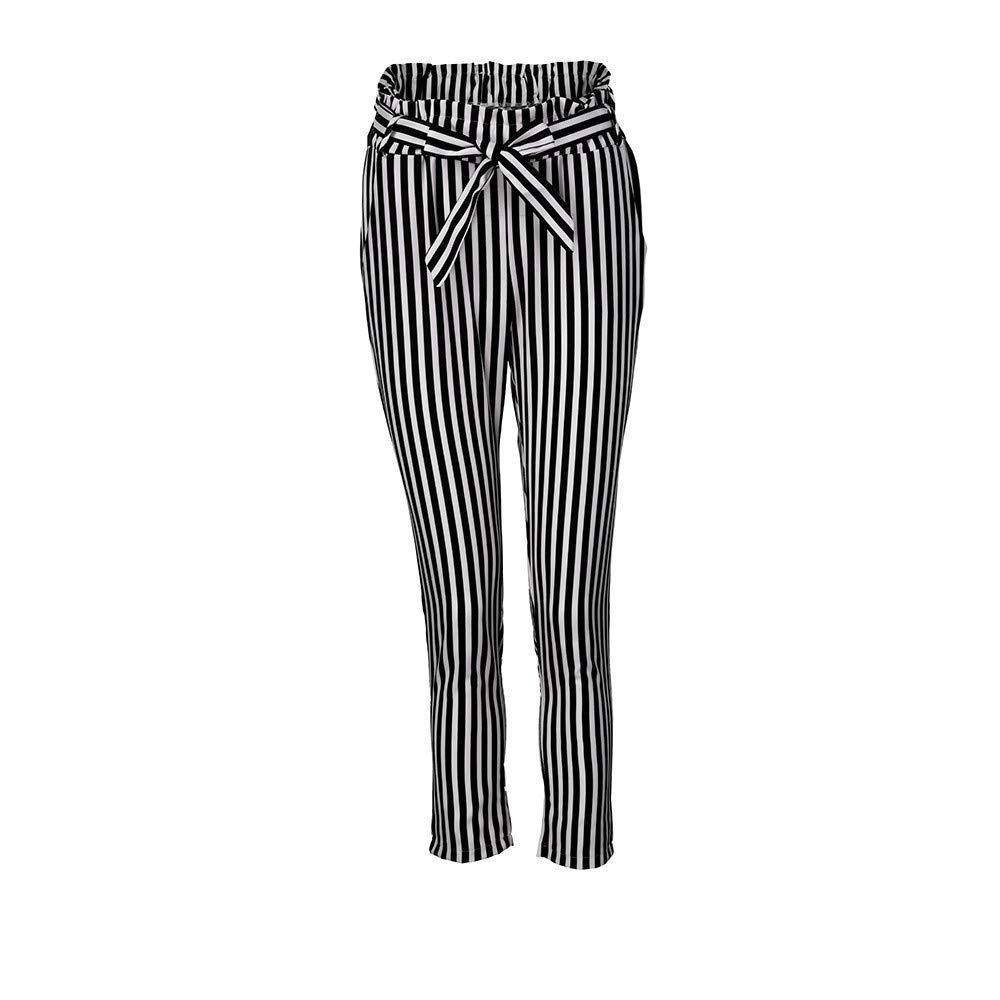 Cyswi High Waist Women Harem Pants Long Elastic Bowtie Trousers Stripe Casual Pants with Bowknots Black Elegant Office Clothing