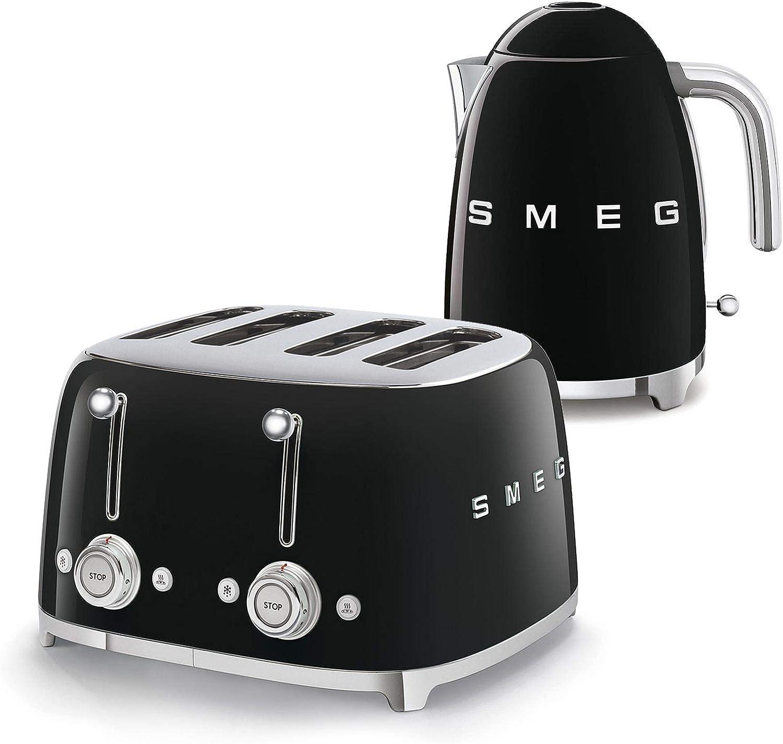 Smeg 50s Retro 4-Slot Toaster TSF03 Bundle with Smeg KLF03 Electric Kettle (Black)