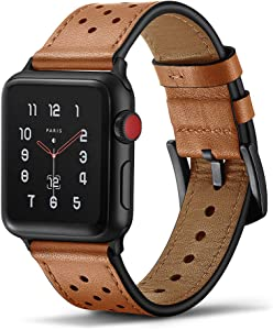 Tasikar Leather Band Compatible with Apple Watch Band 42mm 44mm Genuine Leather Replacement Band Compatible with Apple Watch Series 6 Series 5 /4 Series 3/2/1, SE (Brown)