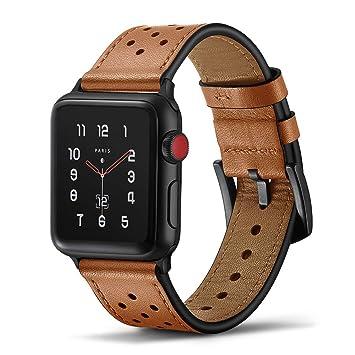 Tasikar para Correa Apple Watch 42mm 44mm Diseño de Cuero Genuino Compatible con Apple Watch Series 5 Series 4 (44mm) Series 3 Series 2 Series 1 ...