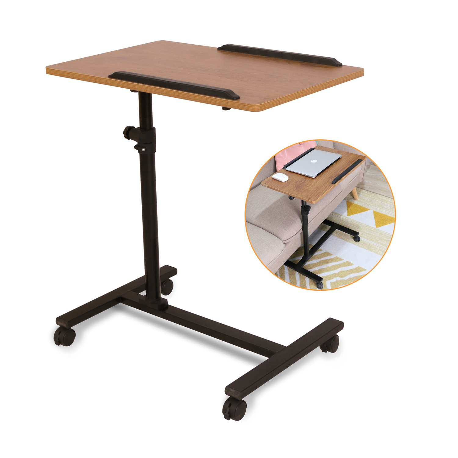 Ebuynar Adjustable Overbed Table Laptop Cart with Wheels (Single Side,Dark Brown)
