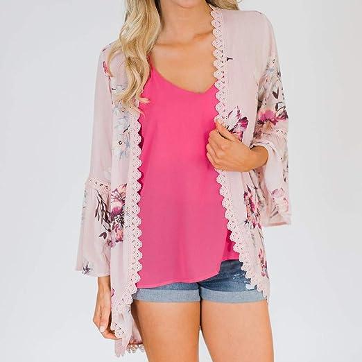 Amazon.com: Big Teresamoon Women Chiffon Flower Print Lace Coat Tops Suit Kimono Cover Fashion Smock: Kitchen & Dining