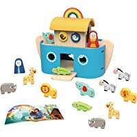 TOOKYLAND Noah's Ark Toy for Toddler Wooden Toys Animal Shape Sorter, Bible Story Toys with Story Book, Wooden Ark…