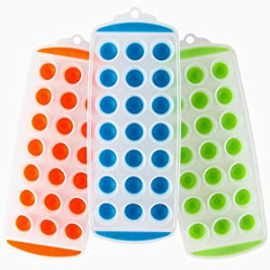 """Lily's Home Silicone Mini Ice Cube Trays with Easy Push and Pop Out Materials, Ideal for Sports or Water Bottles, Assorted Bright Colors (11"""" x 4 1/2"""" x 1"""", Set of 3)"""