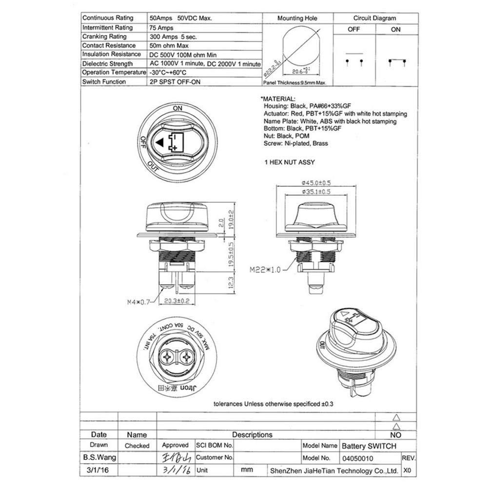 Lizefang 12 48V Interruptor de bater/ía Mini ABS Interruptor de Aislamiento a Prueba de Agua para autom/óviles y Barcos