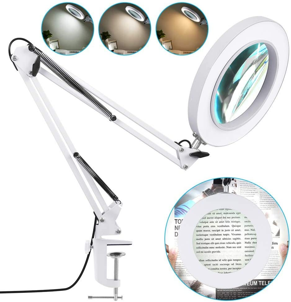 Veemagni 5X Magnifying Desk lamp with Clamp, 8-Diopter Glass Lens, 3 Color Modes, Stepless Dimming, Adjustable Swivel Arm, LED Lighted Magnifier Light for Repair, Reading, Close Work, Craft (White)