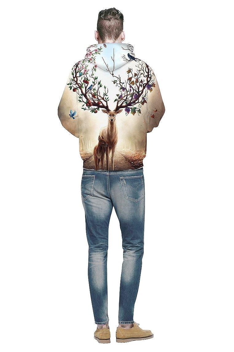 Ovender/® Felpe con Cappuccio Uomo Donna Unisex 3D Stampato Arte Stampato Coulisse Tasche Maniche Lunghe Felpe Stampe Animali Galaxy per Ragazza Ragazzo Adolescenti