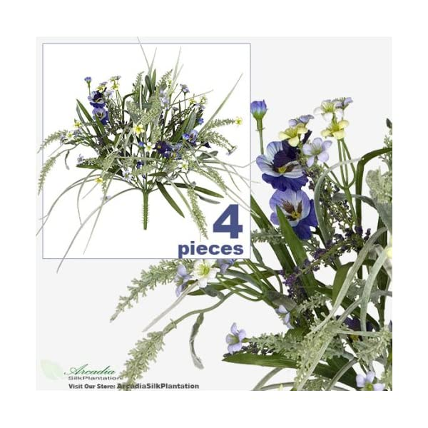 FOUR 17″ Pansy Astilbe Mixed Artificial Flower Grass Arrangement _Lavender Purple