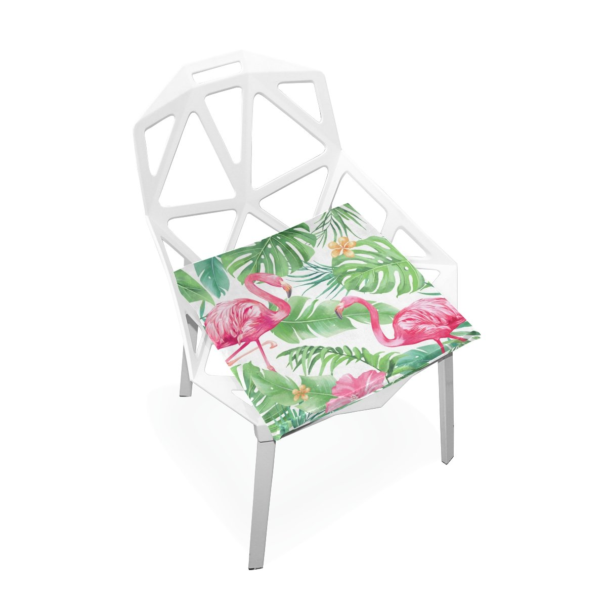 TSWEETHOME Comfort Memory Foam Square Chair Cushion Seat Cushion with Watercolor Flamingo Chair Pads for Hardwood Floors Dining Chairs Office Chairs
