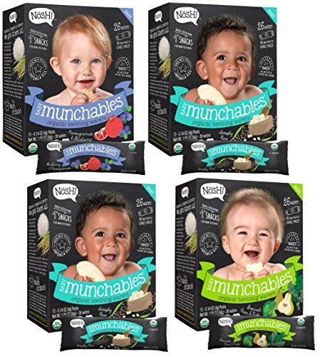 Nosh Baby Munchables Organic Rice Teething Wafers, 26 Piece, Sampler Pack (Pack of 4)
