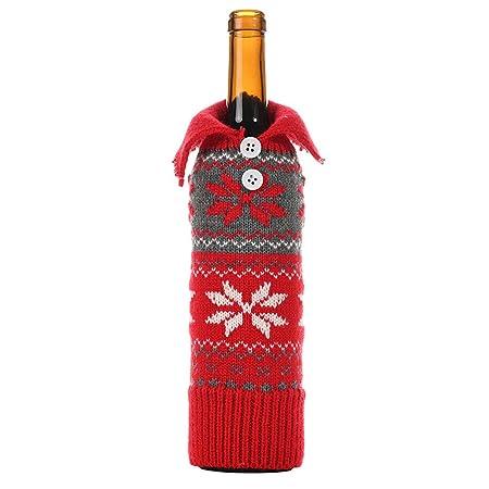 Bolsas Navidad Botellas Vino BotóN PoliéSter Botella Copo Nieve ...