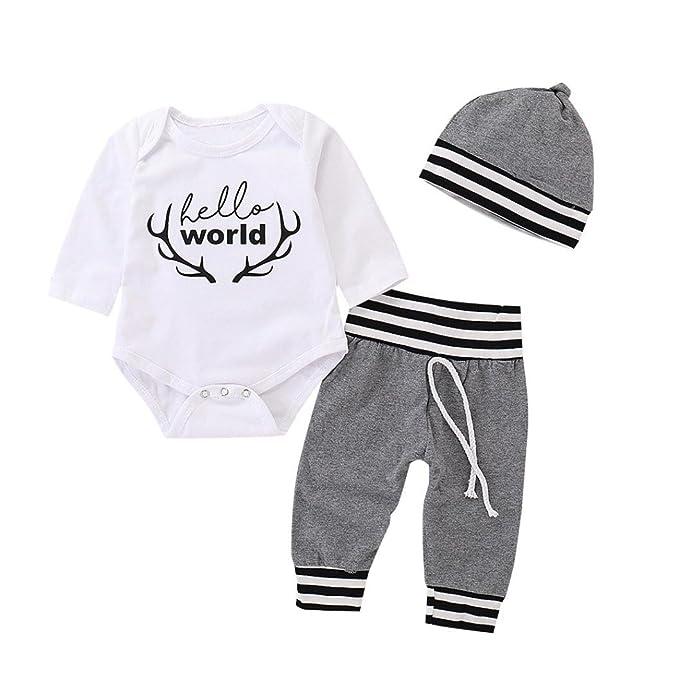 BYSTE Infantile Bambino Ragazze Ragazzi Lettera Stampa Manica Lunga Pagliaccetto  Tuta Camicia T-Shirt Tops+ Bambini a Strisce Pantaloni +Cappello Outfits   ... 3e9911898f4