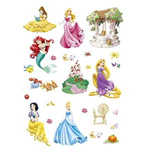 ufengke Princess Mermaid Wall Stickers Castle Wall Decals Art Decor for Girls Kids Bedroom Nursery DIY