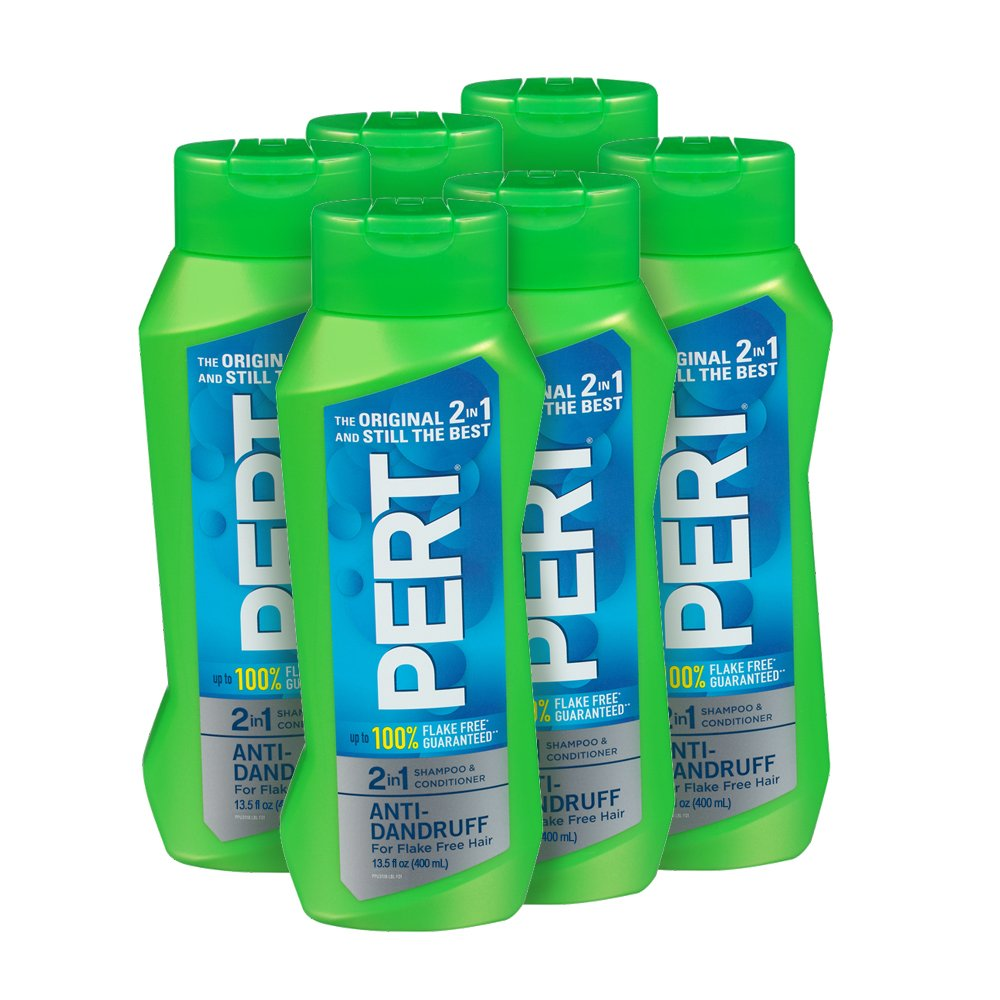 Pert Anti-Dandruff 2 in 1 Shampoo and Conditioner, 13.5 Ounce (Pack of 6)
