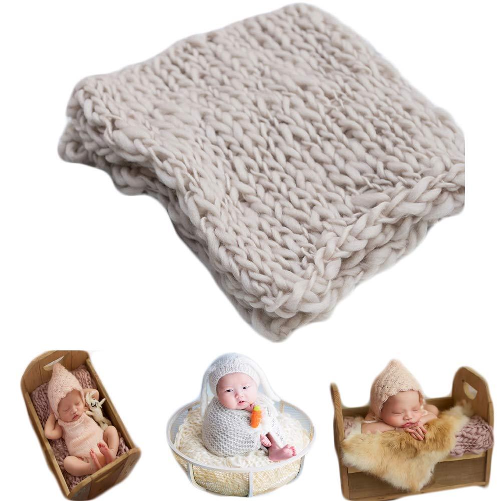 Wine-red Baby Photography Props Basket Braid Wool Wrap Newborn Boy Girl Photo Shoot Baskets Filler Posing Stuffer Background Blanket