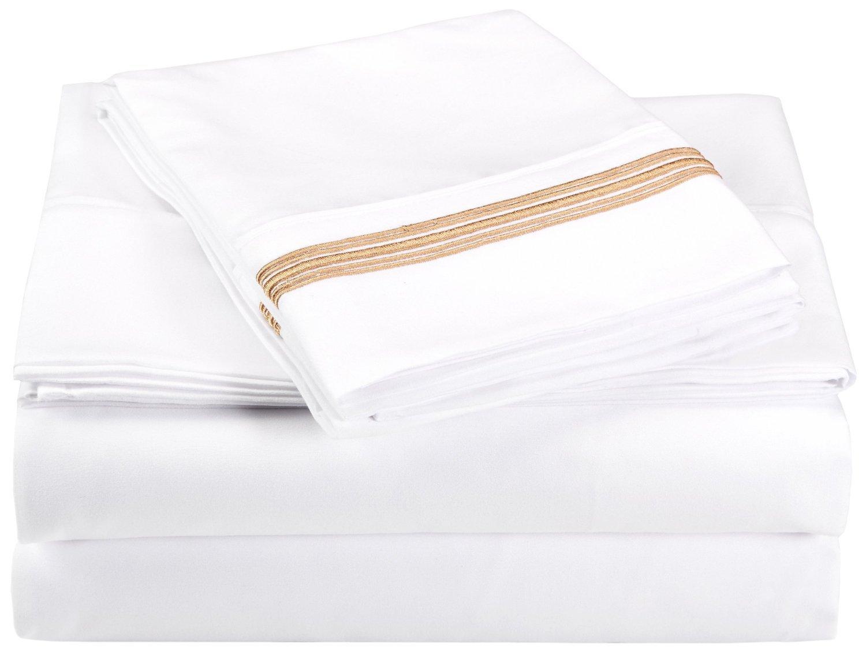... y resistentes a las arrugas, 100 % microfibra afelpada, con 5 rayas bordadas, en caja para regalo, color blanco/dorado, 4 piezas: Amazon.es: Hogar