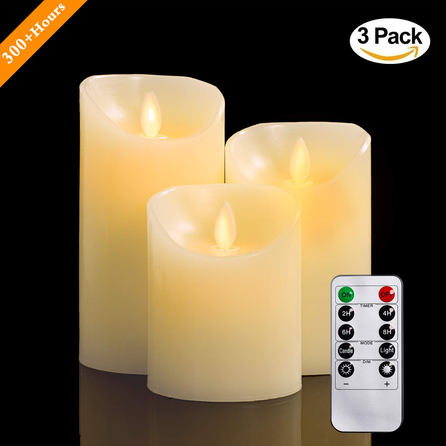Flameless Candles, 4'' 5'' 6'' Set of 3 Real Wax Not Plastic Pillars, Include Realistic Dancing LED Flames and 10-key Remote Control with 2/4/6/8-hours Timer Function, 300+ Hours-YIWER (3, Ivory)