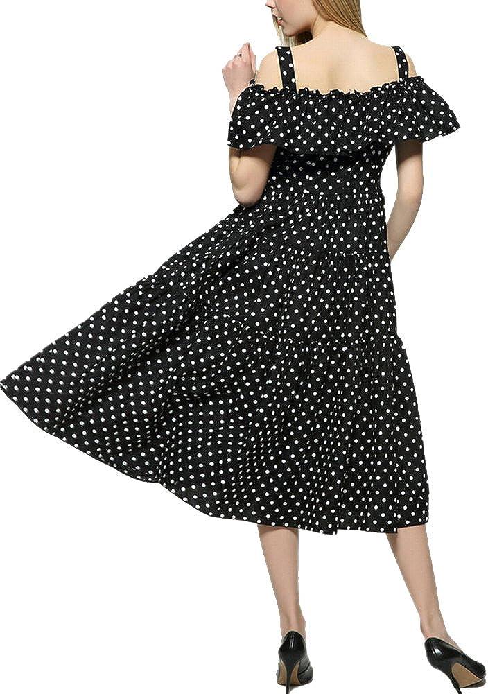 Youtobin Womens Off Shoulder Chiffon Polka Dot Ruffled long Dress Sundresses