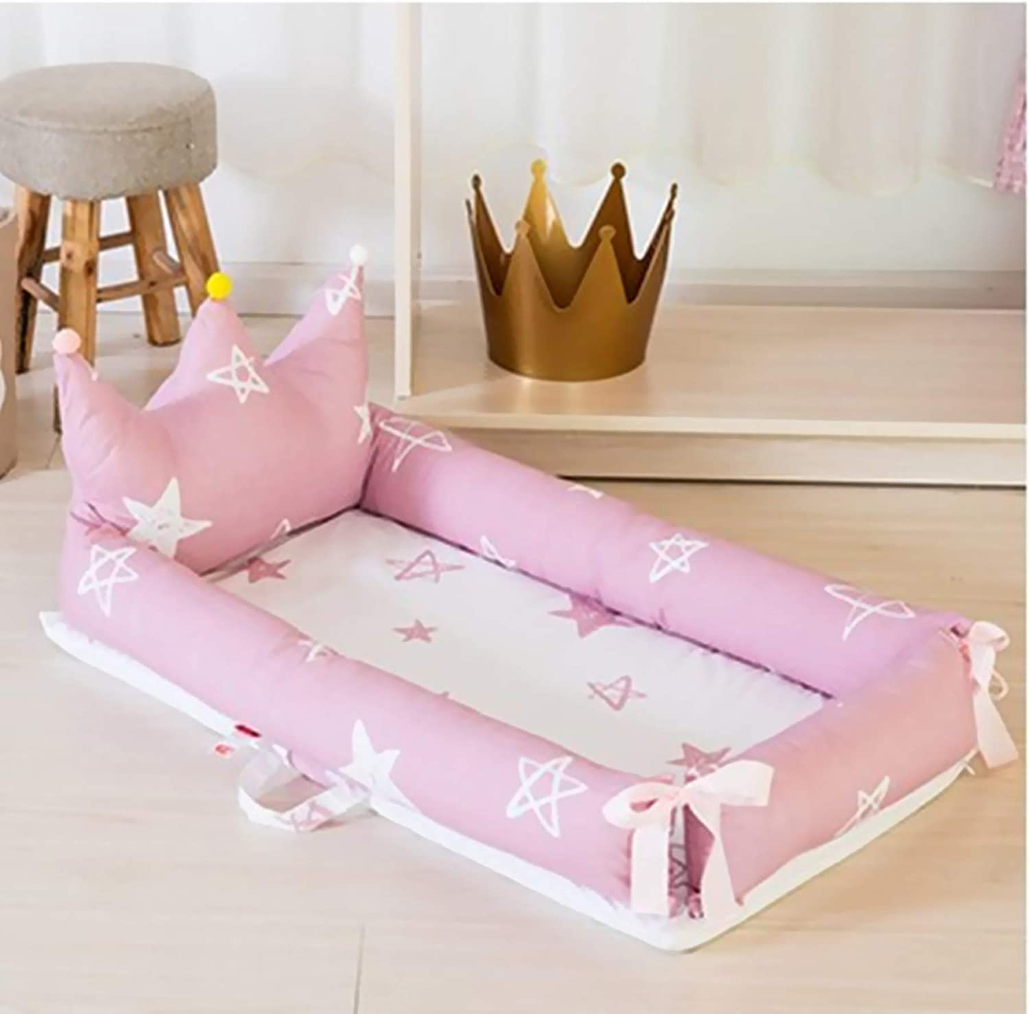 Ustide Baby Bassinet 100/% Cotton Crib Mattress for Bedroom Travel Green Point with Crown Baby Bassinet for Bed Soft Portable Crib for Bedroom Girls Boys Baby Nest with Quilt Pillow 3 Pieces