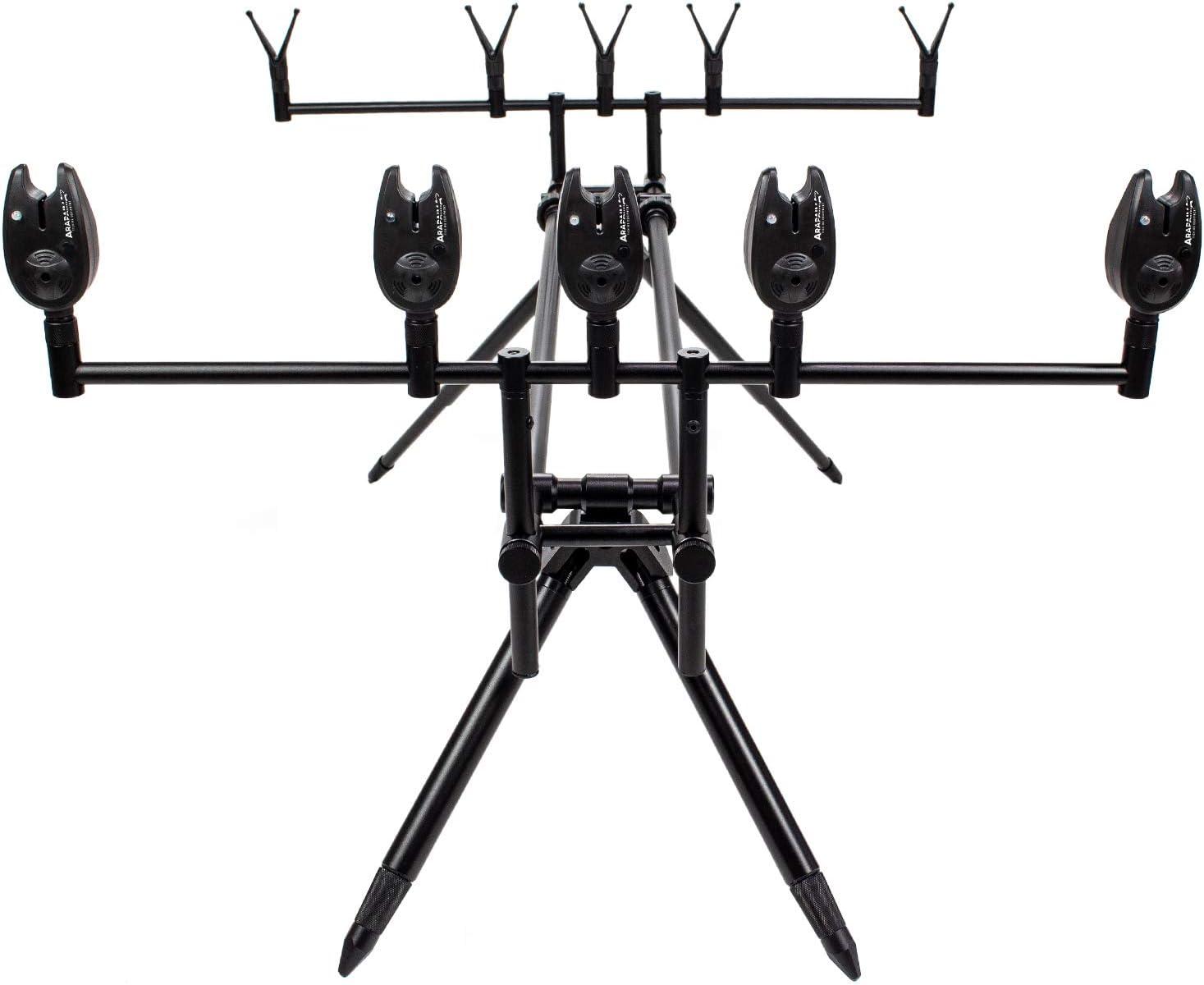 ARAPAIMA FISHING EQUIPMENT Rod Pod Set Lakeview Sac de Transport Support de Canne en Aluminium Indicateur de Coussin Repose-Cannes de p/êche pour 3 Cannes /à p/êche Coussins en V