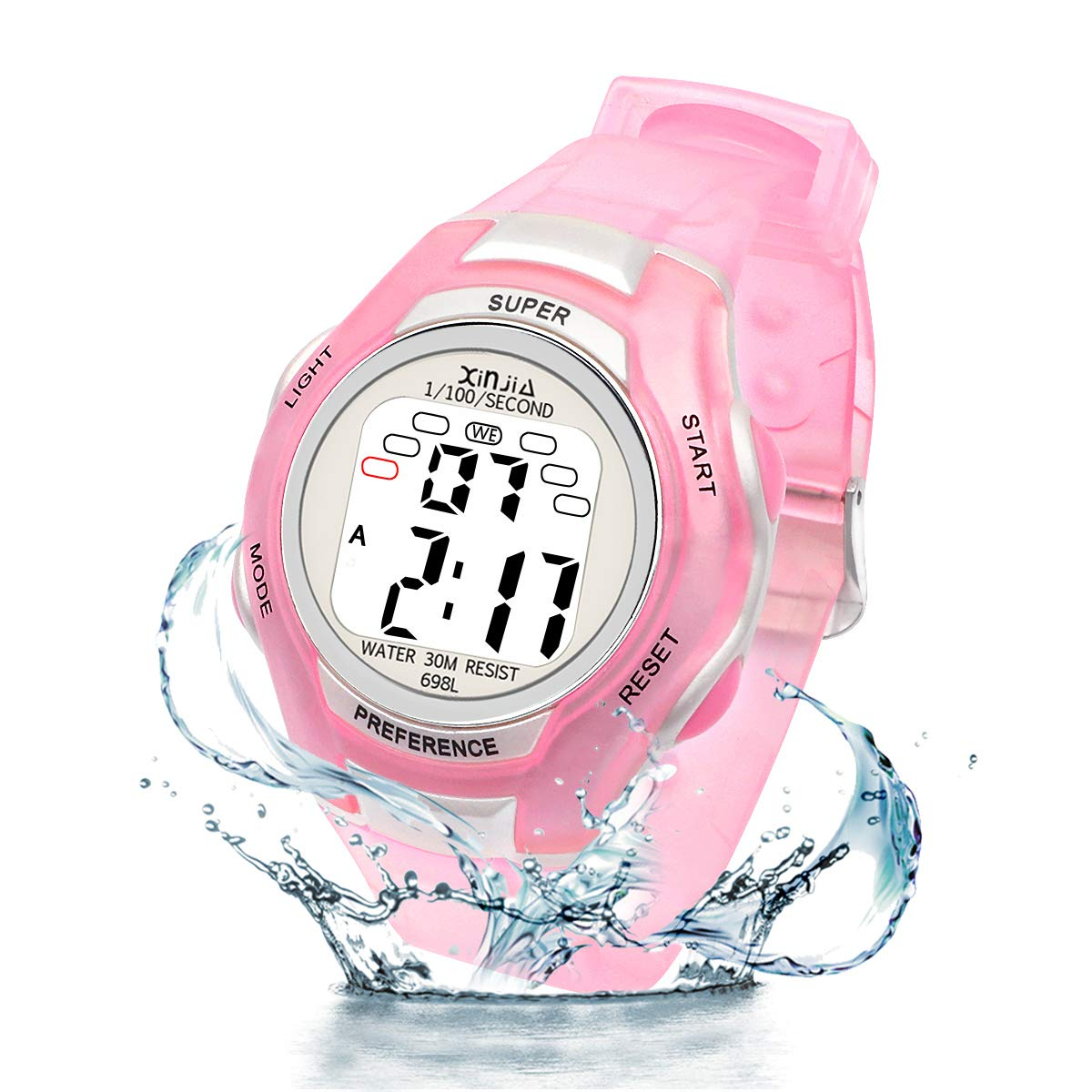 Digital Watches for Kids, 7 Colors LED Light Boys Girls Watch Waterproof Sports Watches Digital Watch for Age 2~14 Children Gift (Pink-1) by Juboos