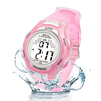 Amazon.com: Reloj digital para niños y niñas, 7 LED ...