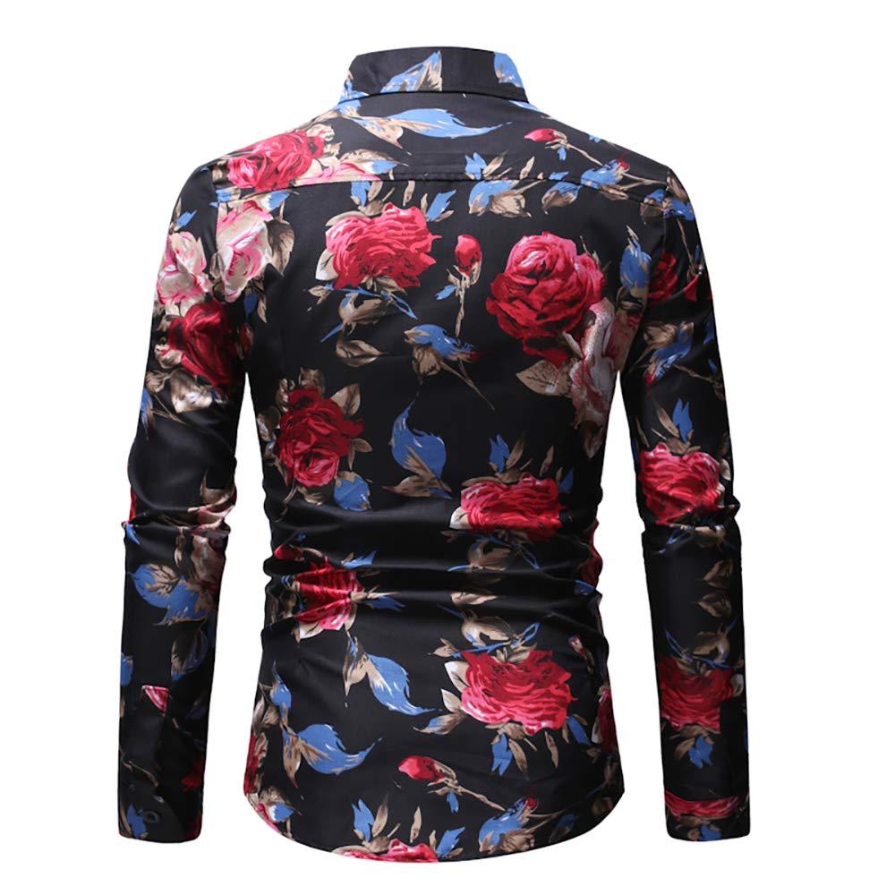 SANHION Fashion Mens Flower Paisley Cotton Long Sleeve Casual Button Down Shirt