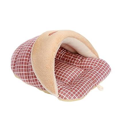 BIGBOBA Suave cálido Saco de Dormir casa de Perro acogedora Cama para Perros Gatos (Rojo