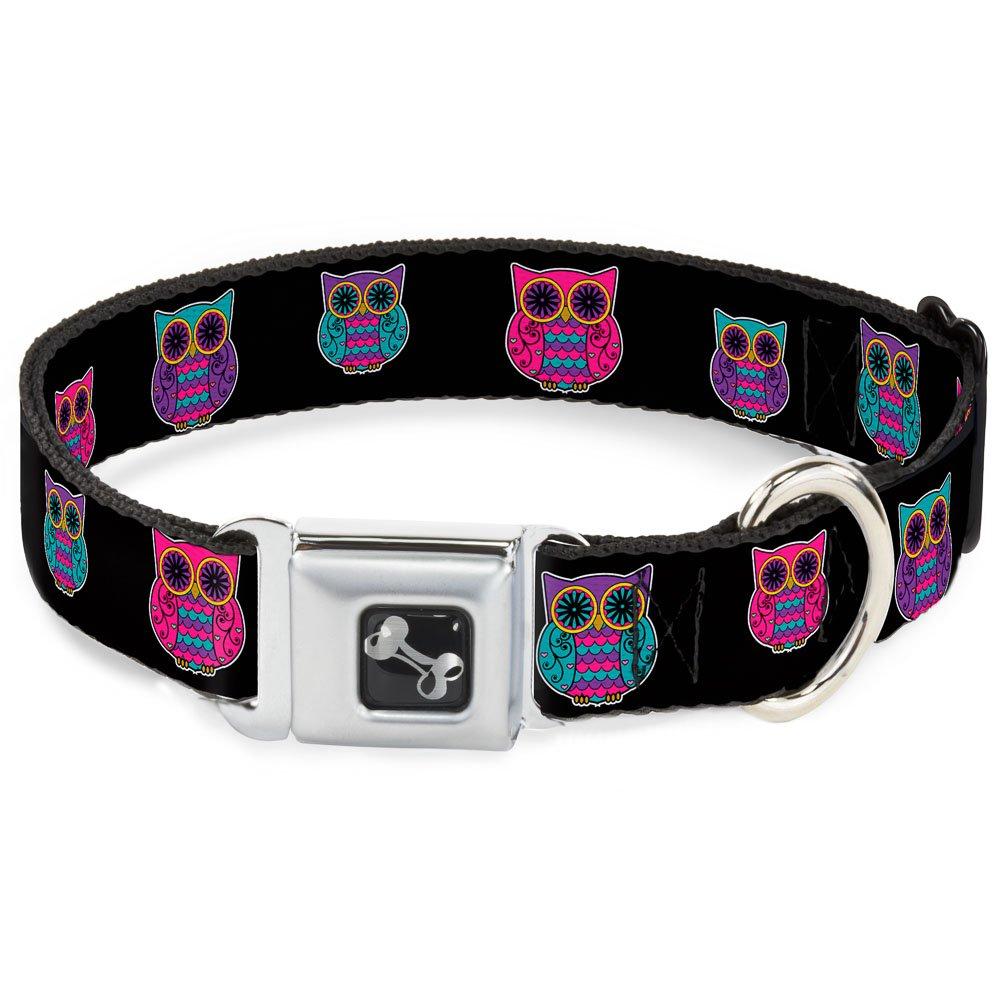 Buckle-Down Seatbelt Buckle Dog Collar Owls Black Fuchsia Purple Turquoise 1  Wide Fits 11-17  Neck Medium