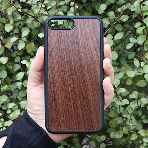 Beautiful Hand Rubbed Walnut Phone Case by Allie & Ree, For Iphone 7 Plus and 8 Plus, Veneer Insert Cover with Flexible Rubber Bumper Sides