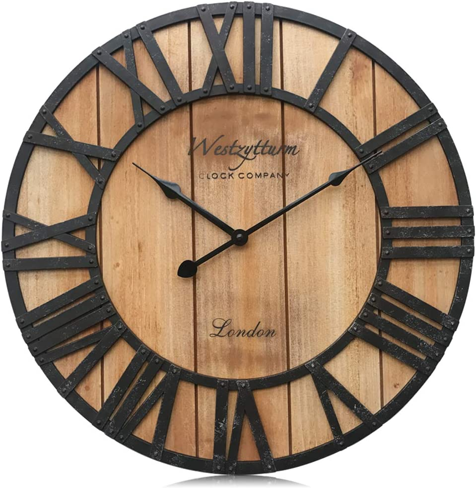 Amazon Com Westzytturm Wood Farmhouse Wall Clock Roman Numerals Large Decorative Silent Battery Operated Round Rustic Wall Clocks For Living Room Decor Home Kitchen Office Bedrooms Orange 18 Inch Kitchen Dining