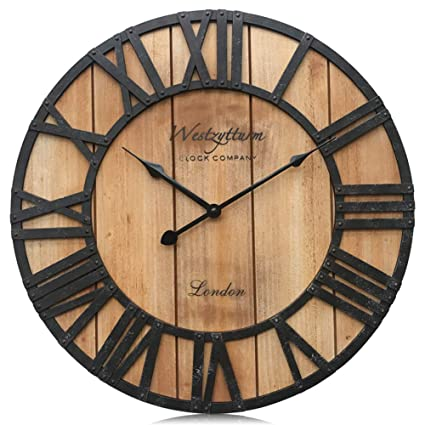 Amazoncom Westzytturm Large Rustic Wood Wall Clocks Battery