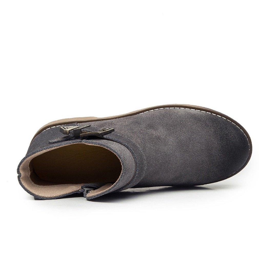 Xianshu boucle bottes zip 12622 chaussures round toe rétro boucle bottes Gris e38a8ca - automaticcouplings.space