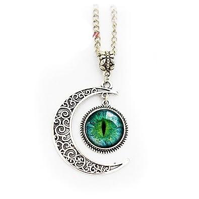 fa612feee8fd51 Amazon.com: Green Cat Eye Necklace Full Moon Necklace Eyeball ...