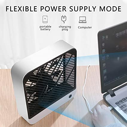 Natural White Togethor Small Personal USB Desk Fan,3 Speeds Portable Desktop Table Cooling Fan Powered by USB,Strong Wind,Quiet Operation,for Home Office Car Outdoor Travel